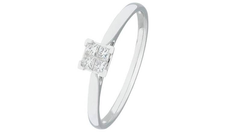 Revere 9ct White Gold 0.15ct tw Princess Cut Diamond Ring -T