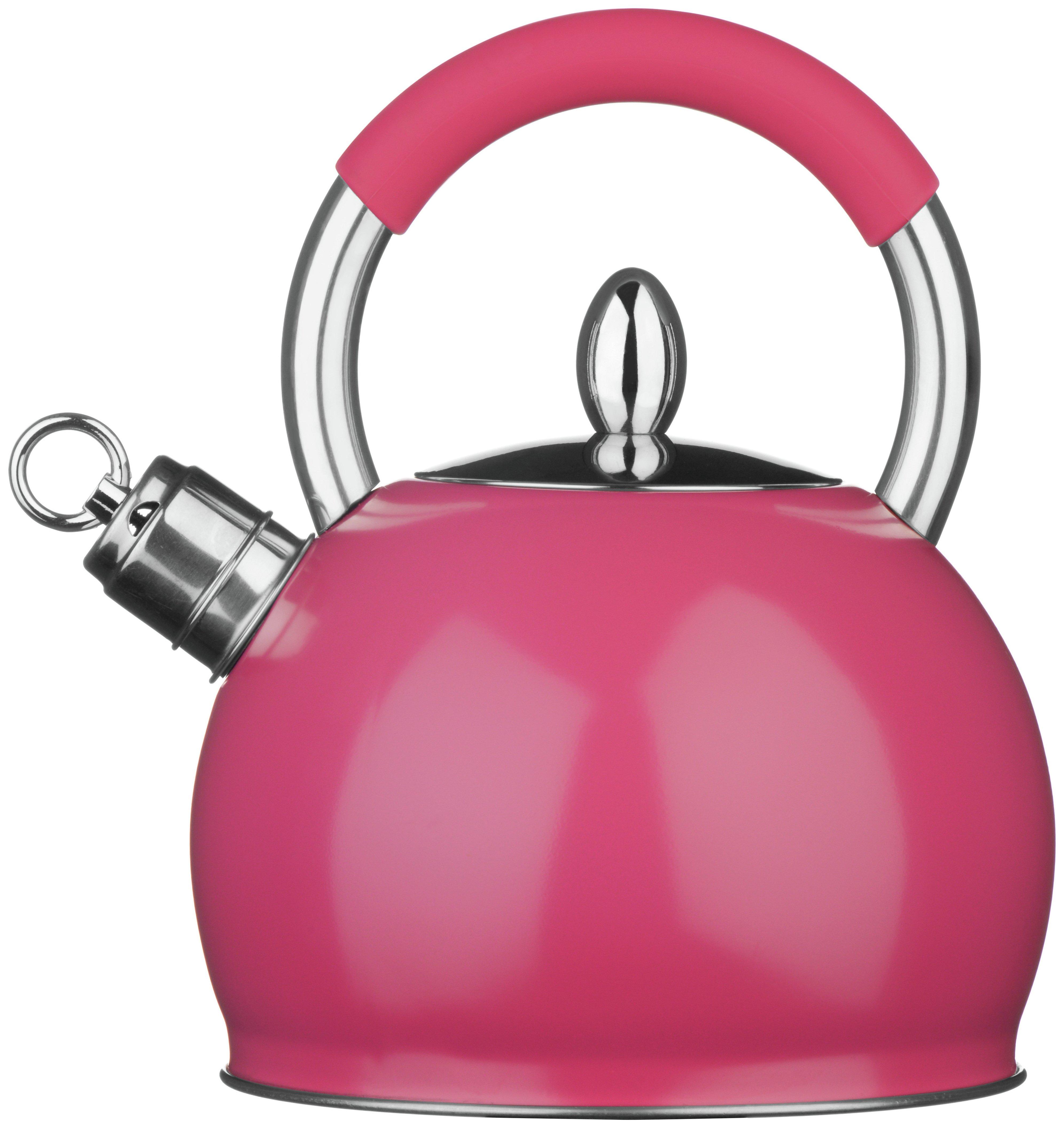 premier housewares stove top whistling kettle pink kettles. Black Bedroom Furniture Sets. Home Design Ideas