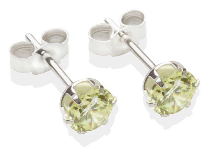 Image of Sterling Silver - Light Peridot CZ - Stud Earrings - 5mm