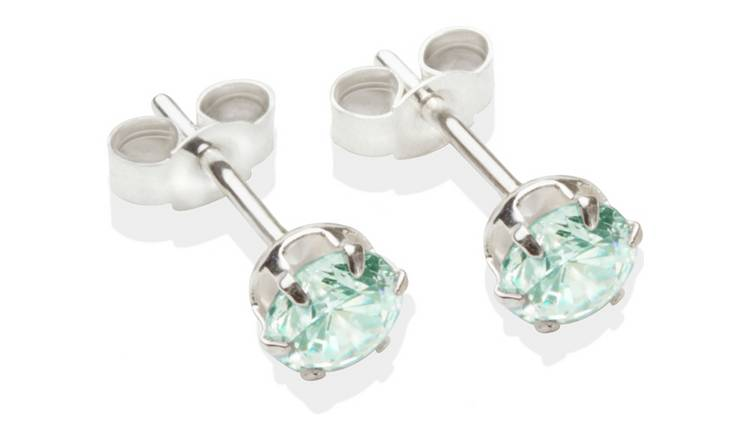 Sterling Silver Aqua Cubic Zirconia Stud Earrings - 5MM