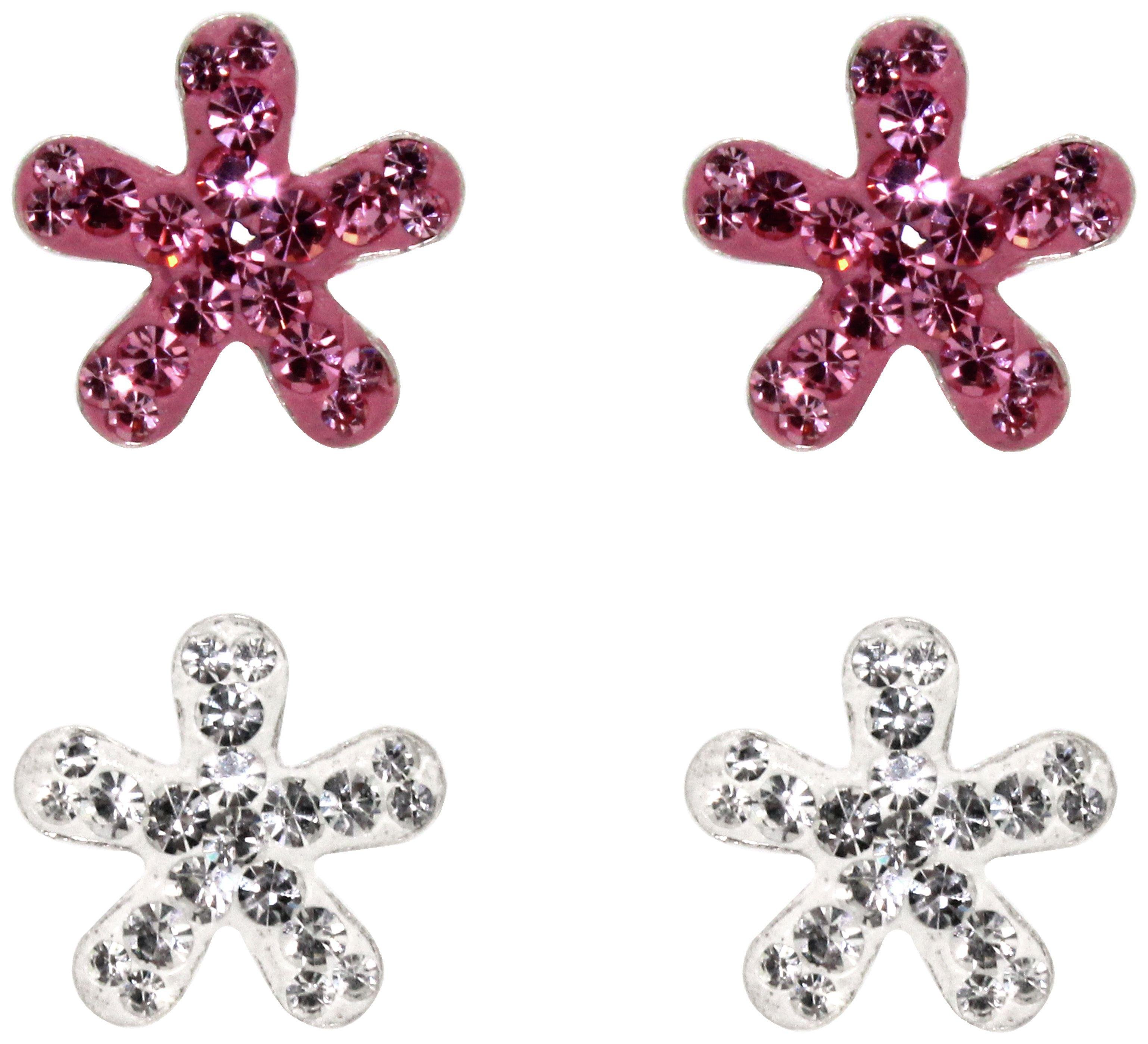 Link Up - Sterling Silver - Pink and White Flower - Studs - 2.