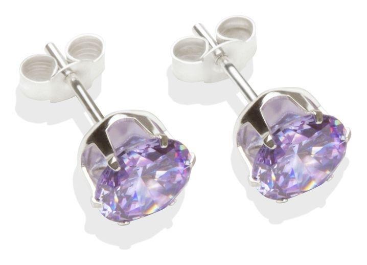 Sterling Silver - Lilac Cubic Zirconia - Stud Earrings- 7mm.