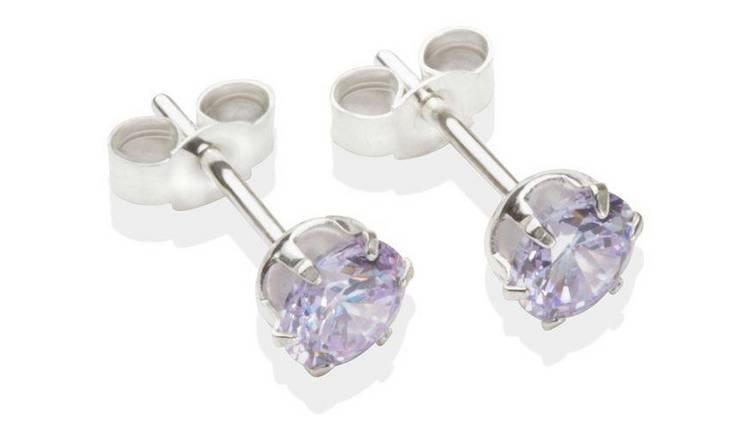 Sterling Silver Lilac Cubic Zirconia Stud Earrings - 5MM