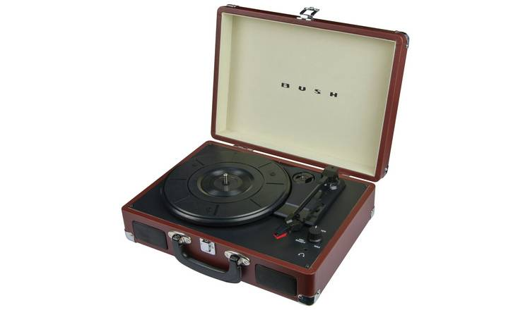 Bush Classic Retro Portable Case Record Player - Brown
