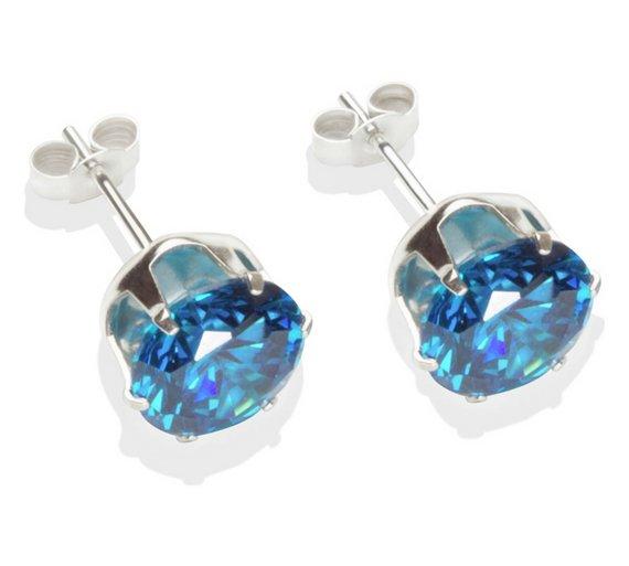 Buy Sterling Silver Dark Blue Cubic Zirconia Stud Earrings - 8MM ... d8b15aa9d0