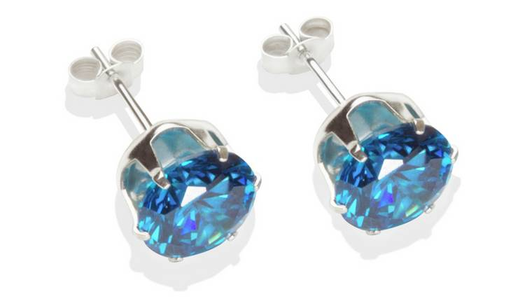 210294591 Sterling Silver Dark Blue Cubic Zirconia Stud Earrings - 8MM436/9541