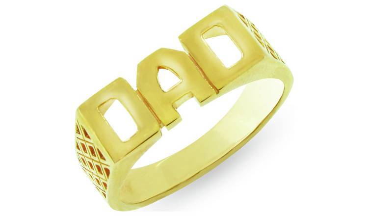 Revere Mens 9ct Gold Plated Sterling Silver 'Dad' Ring - U