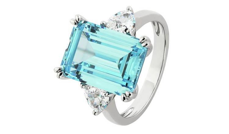 Revere Sterling Silver Emerald Cut Aquamarine Colour Ring- L