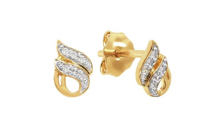 Revere 18ct Gold Plated Silver Diamond Accent Flame Earrings