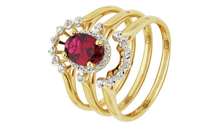 Revere 9ct Gold 3pt tw Diamond & Created Ruby Ring Set - Q