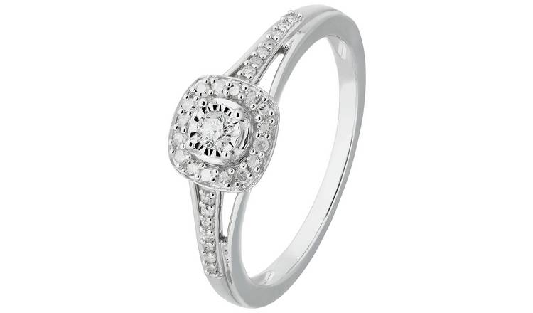 Revere 9ct White Gold 0.15ct tw Diamond Halo Ring - U