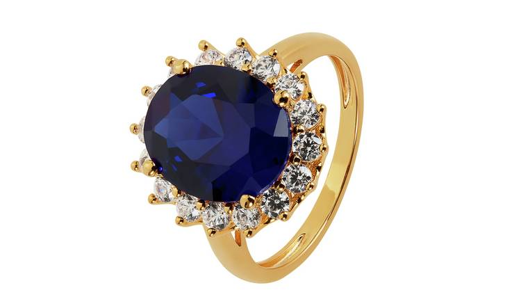 Revere 9ct Gold Plated Cubic Zirconia Halo Ring - J