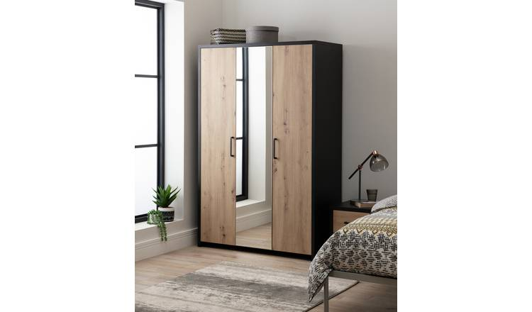 Argos Home Broadway 3 Door Mirror Wardrobe - Grey & Wood