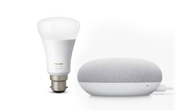 Google Nest Mini with Philips Hue B22 White Bulb