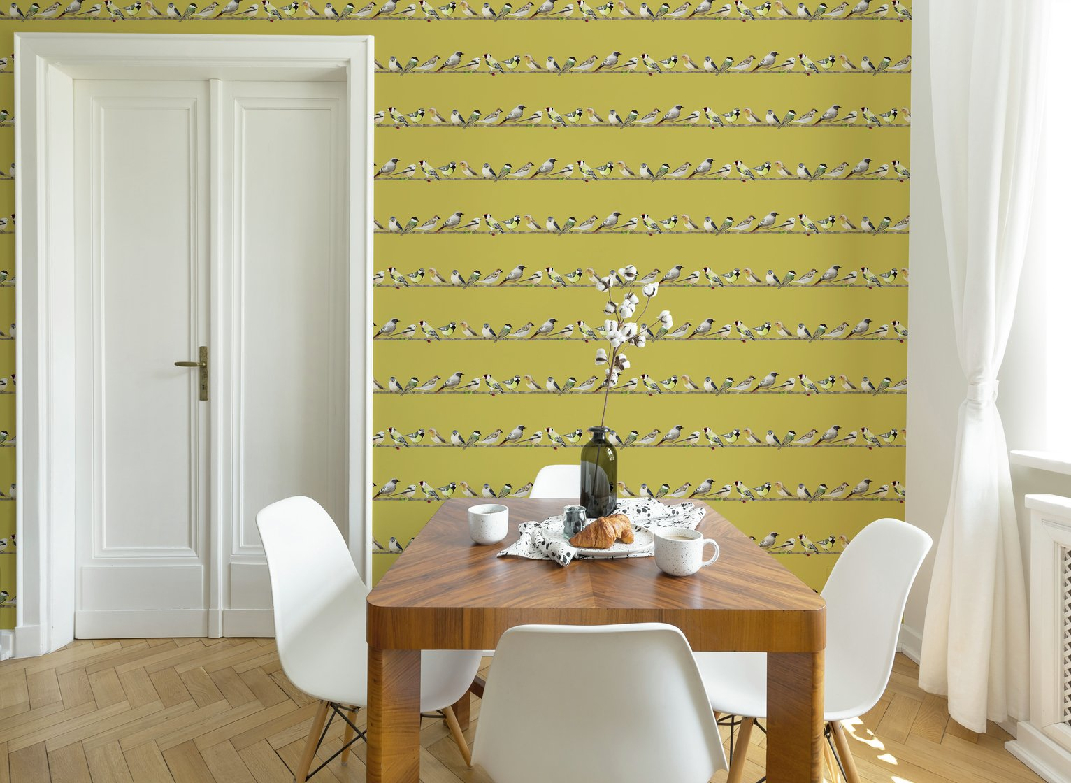 Fresco Tweeting Ochre Wallpaper
