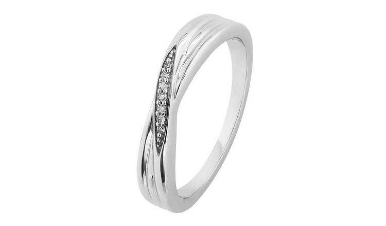 Revere Sterling Silver 0.02ct tw Diamond Crossover Ring - T