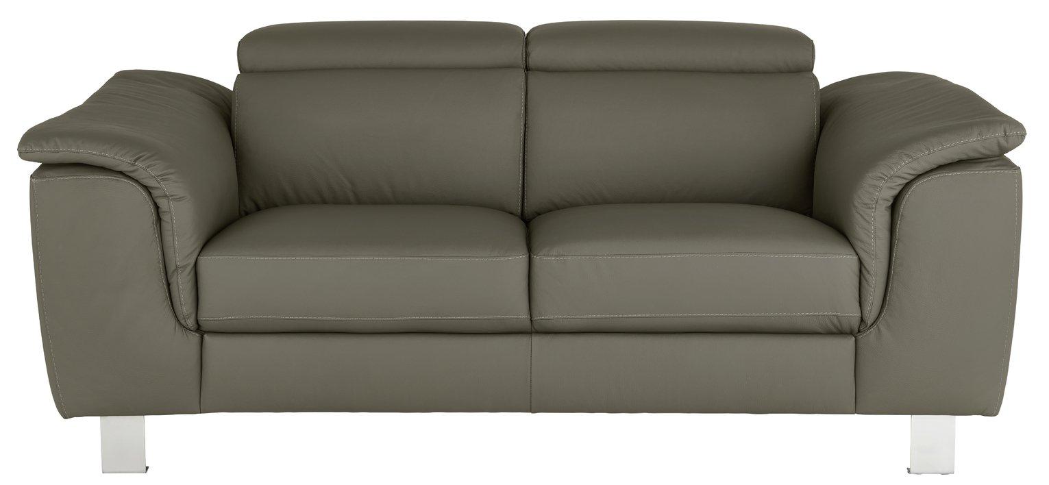 Argos Home Boutique 2 Seater Faux Leather Sofa - Grey
