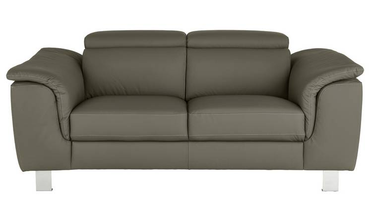Argos Home Boutique 2 Seater Faux Leather Sofa - Grey