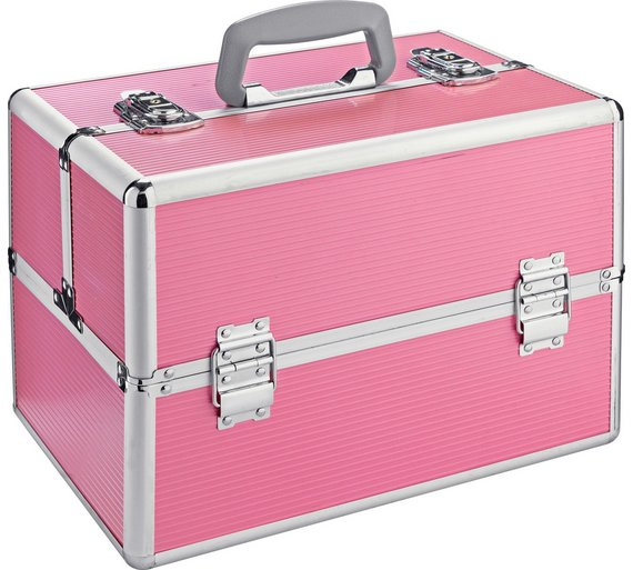 buy large pink aluminium vanity case at your. Black Bedroom Furniture Sets. Home Design Ideas