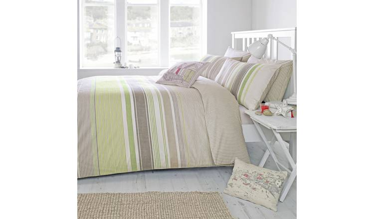 Dreams N Drapes Falmouth Green Duvet Cover - Kingsize.
