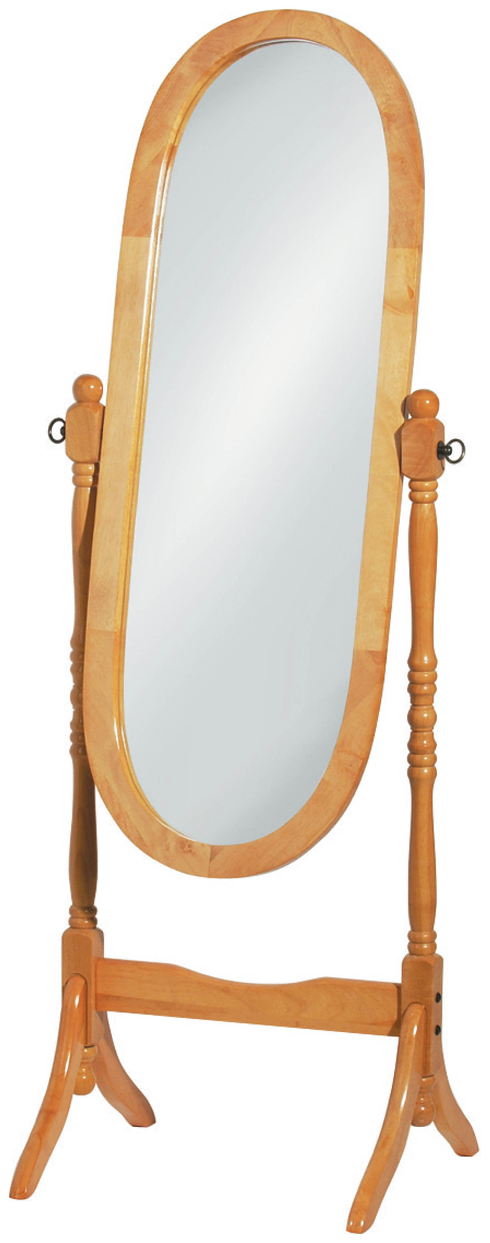 Premier Housewares Oval Wooden Frame Cheval Mirror - Oak
