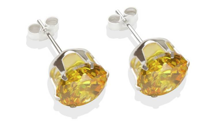 Sterling Silver Citrine Cubic Zirconia Stud Earrings - 8MM