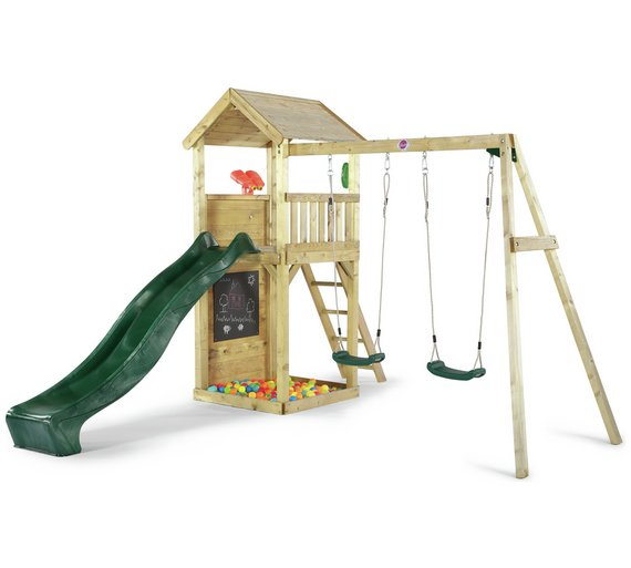 Buy Plum Lookout Tower Wooden Climbing Frame with Swings | Activity ...