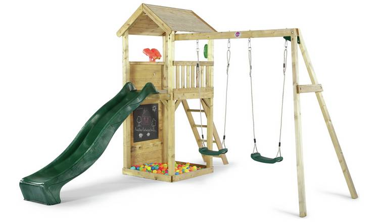 Buy Plum Lookout Tower Wooden Climbing Frame With Swings Activity Centres Argos