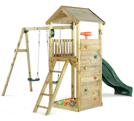 Buy Plum Lookout Tower Wooden Climbing Frame with Swings   Activity ...