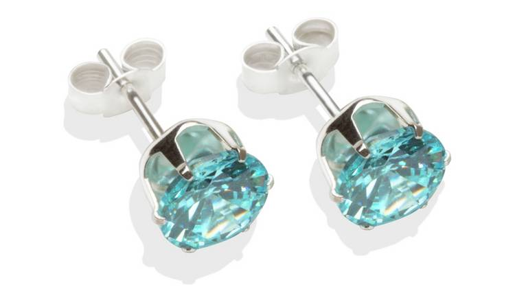Sterling Silver Aqua Cubic Zirconia Stud Earrings - 7MM