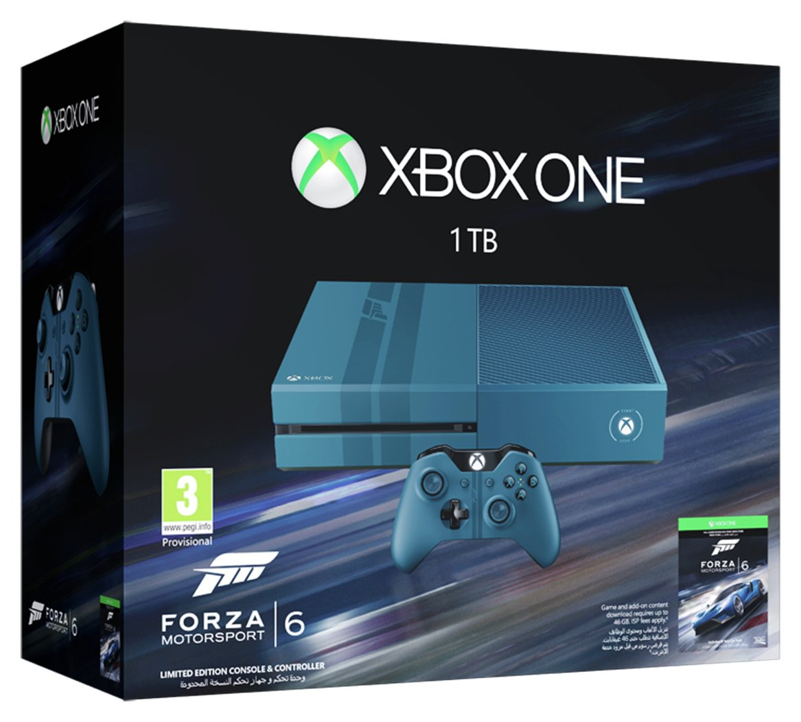 Xbox One 1TB Limited Edition Blue Console and Forza 6.