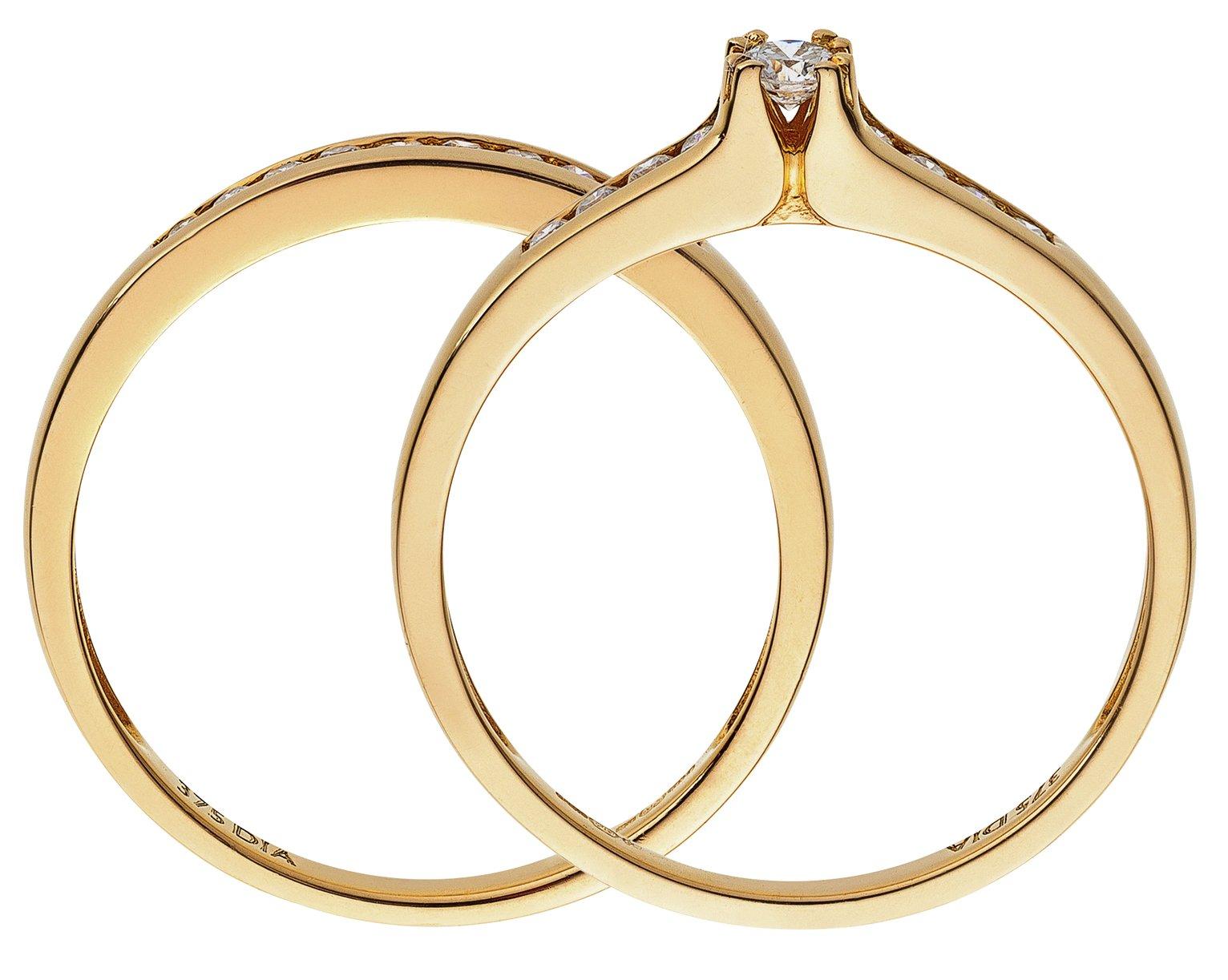 Buy 9ct Gold 025ct tw Diamond Bridal Ring Set at Argoscouk