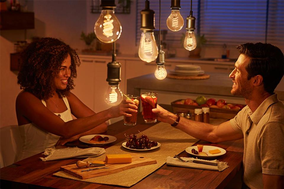 Vintage Philips Hue bulbs with a classic look and feel adding a touch of class.