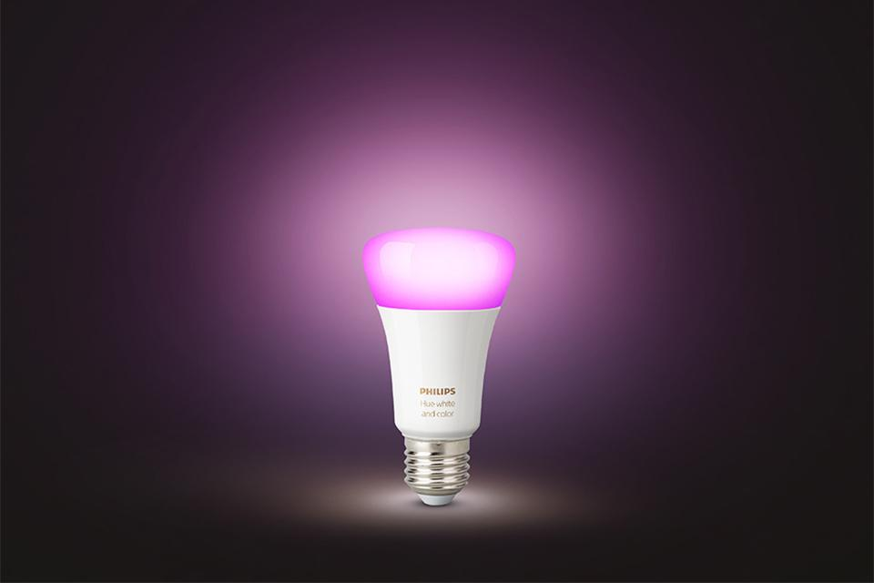 Philips Hue purple bulb showing bluetooth connectivity.