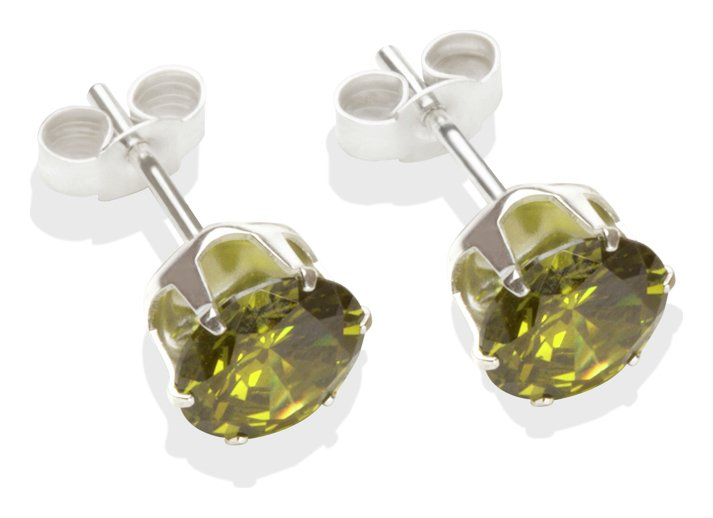 Sterling Silver - Dark Peridot Cubic Zirconia Earrings-7mm