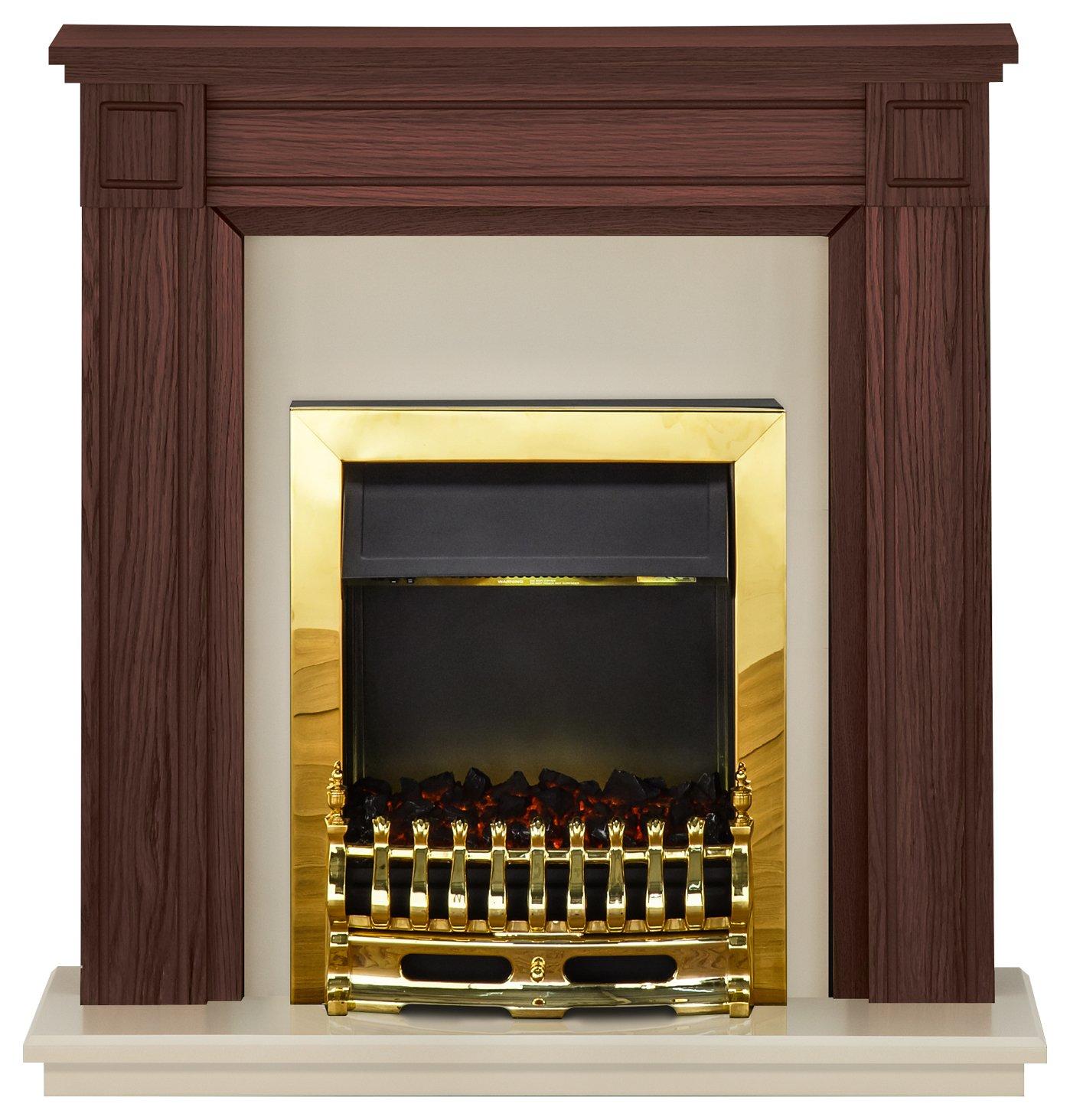 Image of Adam Georgian 2kW Electric Fireplace Suite Mahogany & Cream