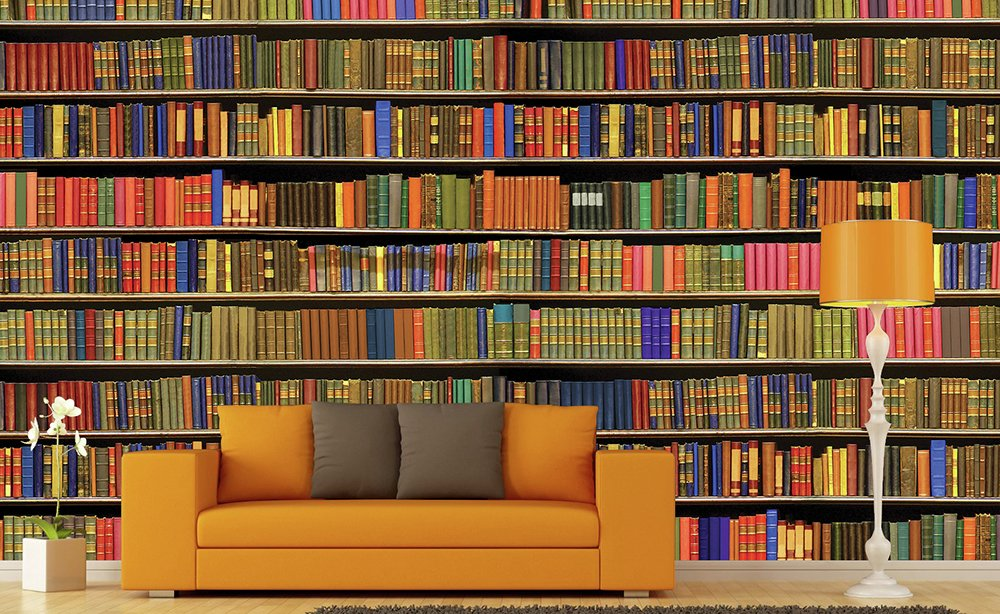 1wall  colour bookshelf  wall mural