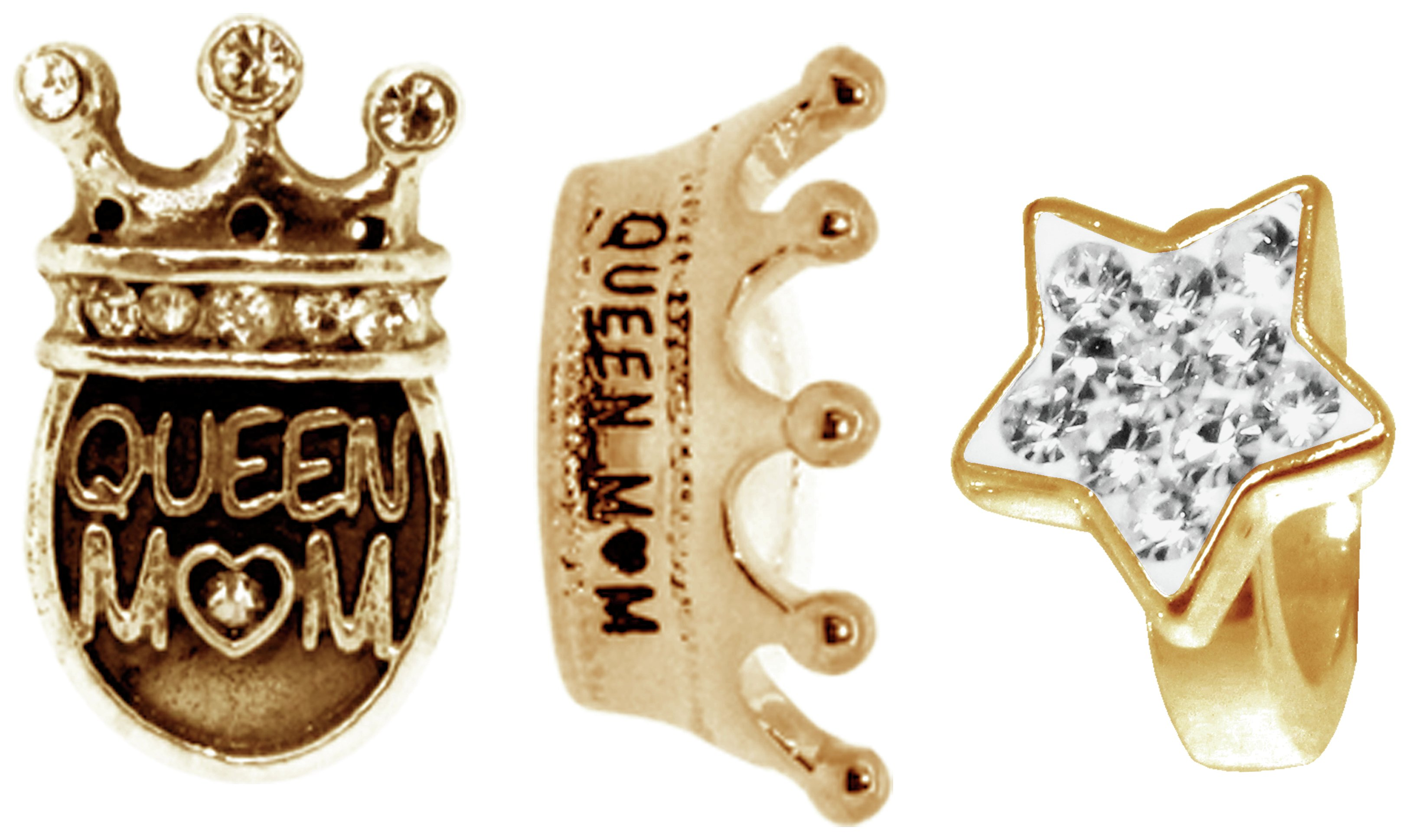 Link Up - Rose Gold - Plated - Silver Crystal Queen Mum Charms - 3