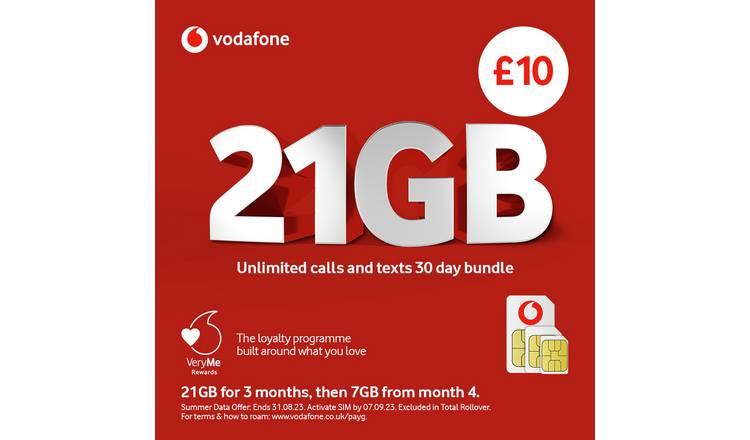 Nano Sim Karte Vodafone.Buy Vodafone Pay As You Go Big Value Bundle Sim Card Mobile Phone Sim Cards Argos
