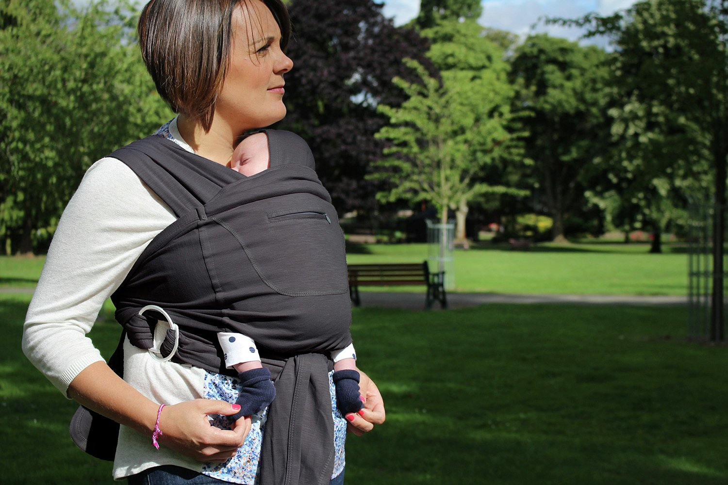 Image of Caboo Cotton Blend Baby Carrier- Grey.