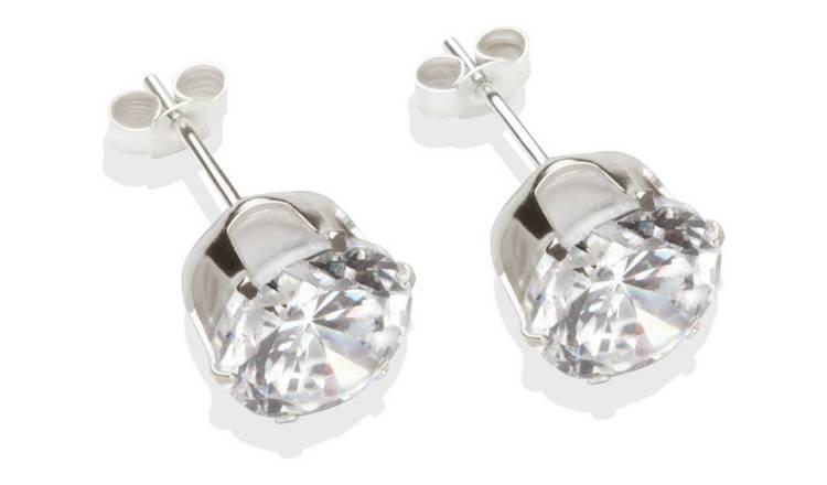046bd1867 Buy Sterling Silver White Cubic Zirconia Stud Earrings - 8mm | Ladies ...