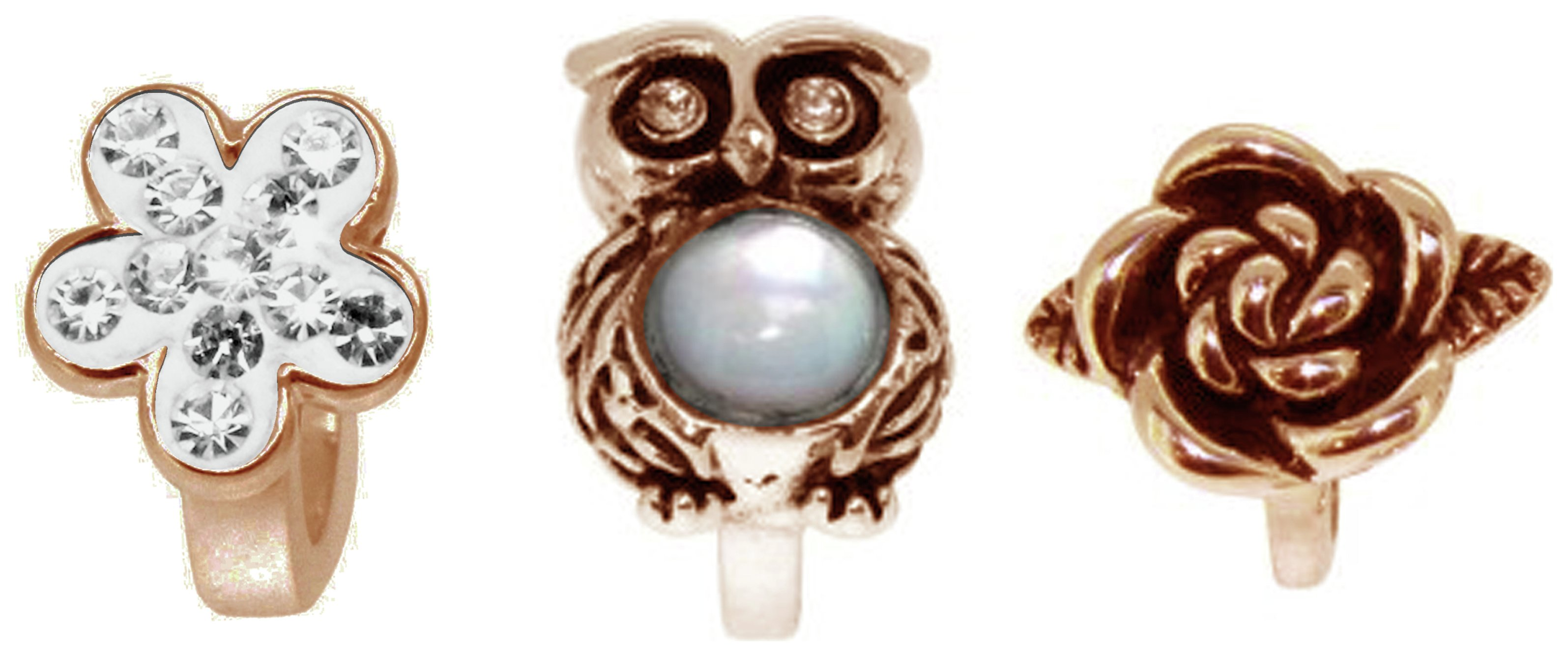 Link Up - Rose Gold - Plated - Silver Crystal Owl Charms - 3.