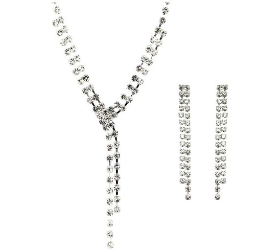 Buy link up diamante necklace and earrings set ladies jewellery click to zoom aloadofball Images
