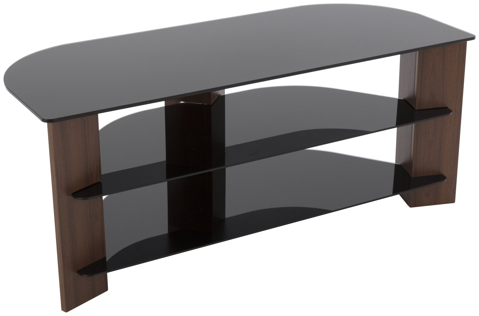 walnut and black glass 55 inch tv stand