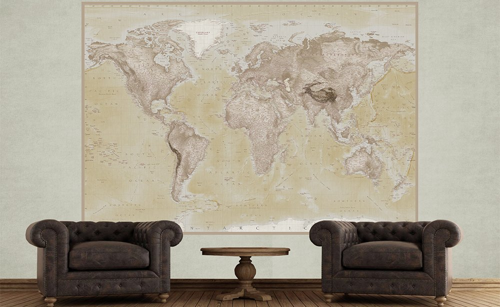 1wall  natural 2 piece deco world map mural