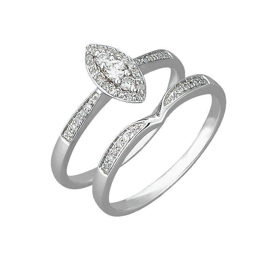 Buy Revere 9ct White Gold 0 25ct tw Diamond Bridal Ring Set at