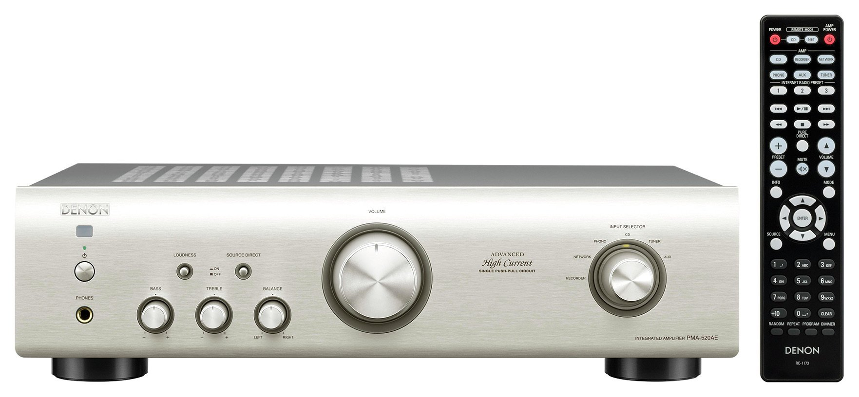 Image of Denon - Integrated Amplifier 520 - Silver