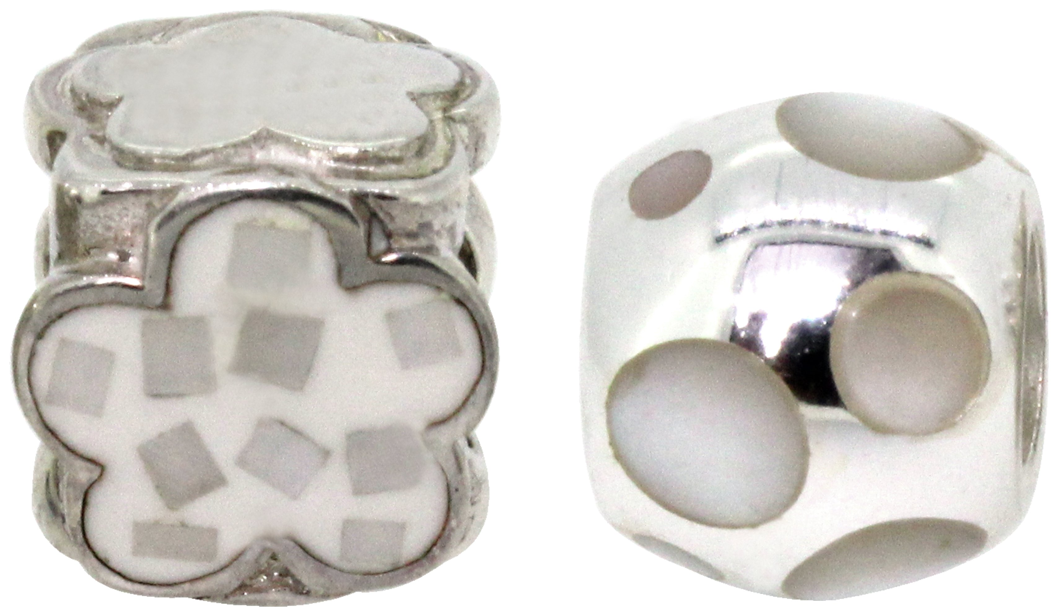 Link Up Sterling Silver Cream Flower Bead Charms - Set of 2