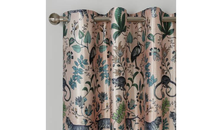 Argos Home Jungle Cat Lined Eyelet Curtains