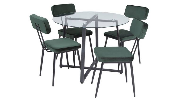 Argos Home Lazio Smoked Glass Dining Table & 4 Green Chairs